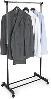 TecTake 400848 Valet de Chambre Séchoir à Linge Telescopique Garde-Robe avec roulettes Blanc