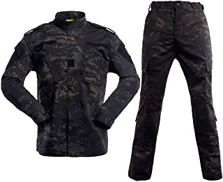 Men's Tactical Jacket and Pants Military Camo Hunting ACU Uniform 2PC Set