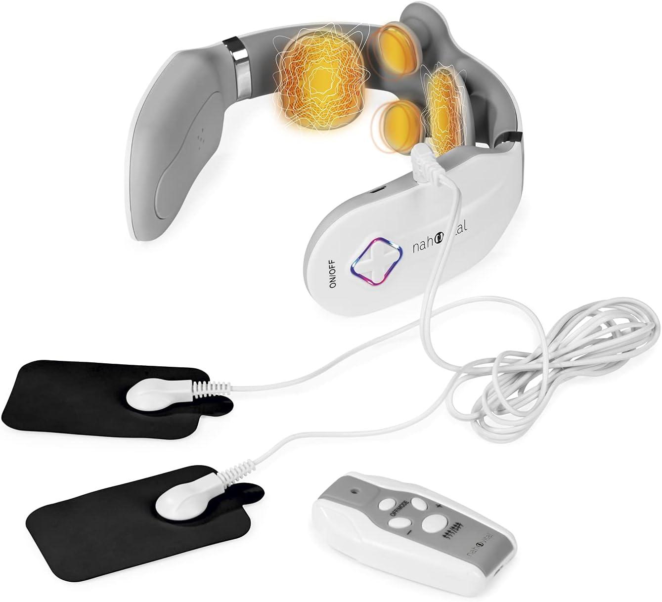 nah-vital® masajeador de cuello con 4 cabezales de masaje y almohadillas EMS adicionales | Función de calor adicional y mando a distancia incluidos | Para aflojar, relajar y regenerar los músculos