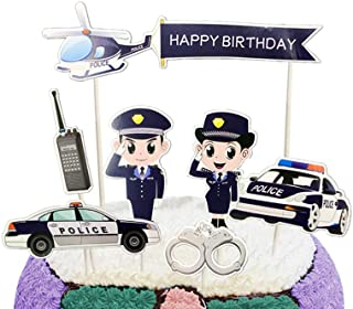 Party Hive 7pc Police Officer Cake Toppers for Birthday Party Event Decor