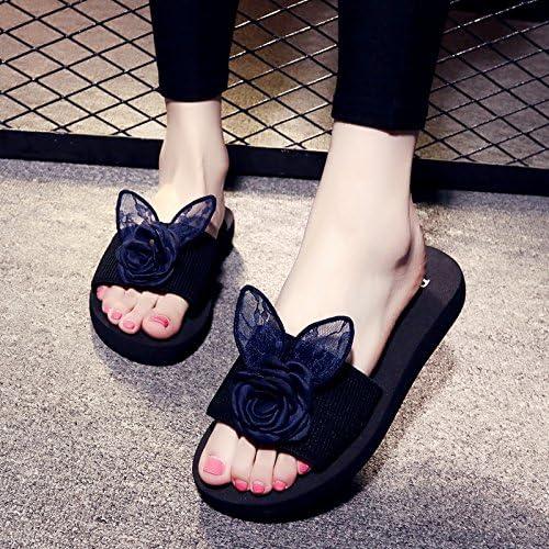 AWXJX Tongs Femme Chaussures été Pente antidérapant Fleurs Plat Plage en Plein air Rouge 3cm 7 US 37.5 EU 4.5 UK