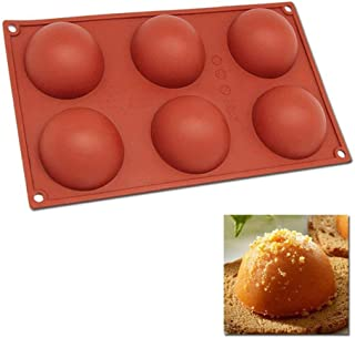 Silicone Baking Mould Hemisphere,DiDaDi 6-Cavity Half Circle DIY Cake Baking Mould Silicone Mold for Making Delicate Chocolate Desserts,Ice Cream Bombes,Cakes,Soap etc