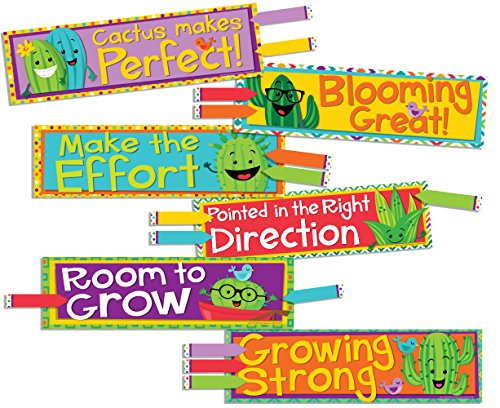 Eureka A Sharp Bunch Teacher Supplies Motivational Cactus Theme Bulletin Board Decorations with Nametags, 36 pcs