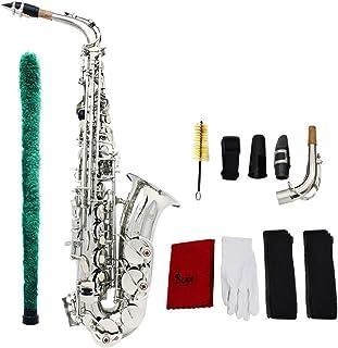 Sax Eb ser ammoon saxofón Alto y plano latón recortado sistema de conjuntos de plástico con Superficie Squisita Guante de lavado paño Pincel correas, plateado