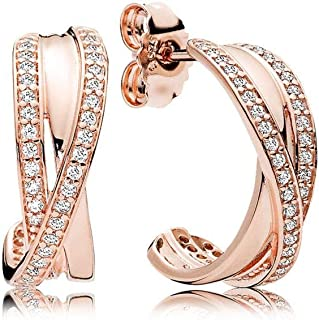 Pandora Intertwined Rose Gold Hoop Earrings With Clear Cubic Zirconia 280730CZ