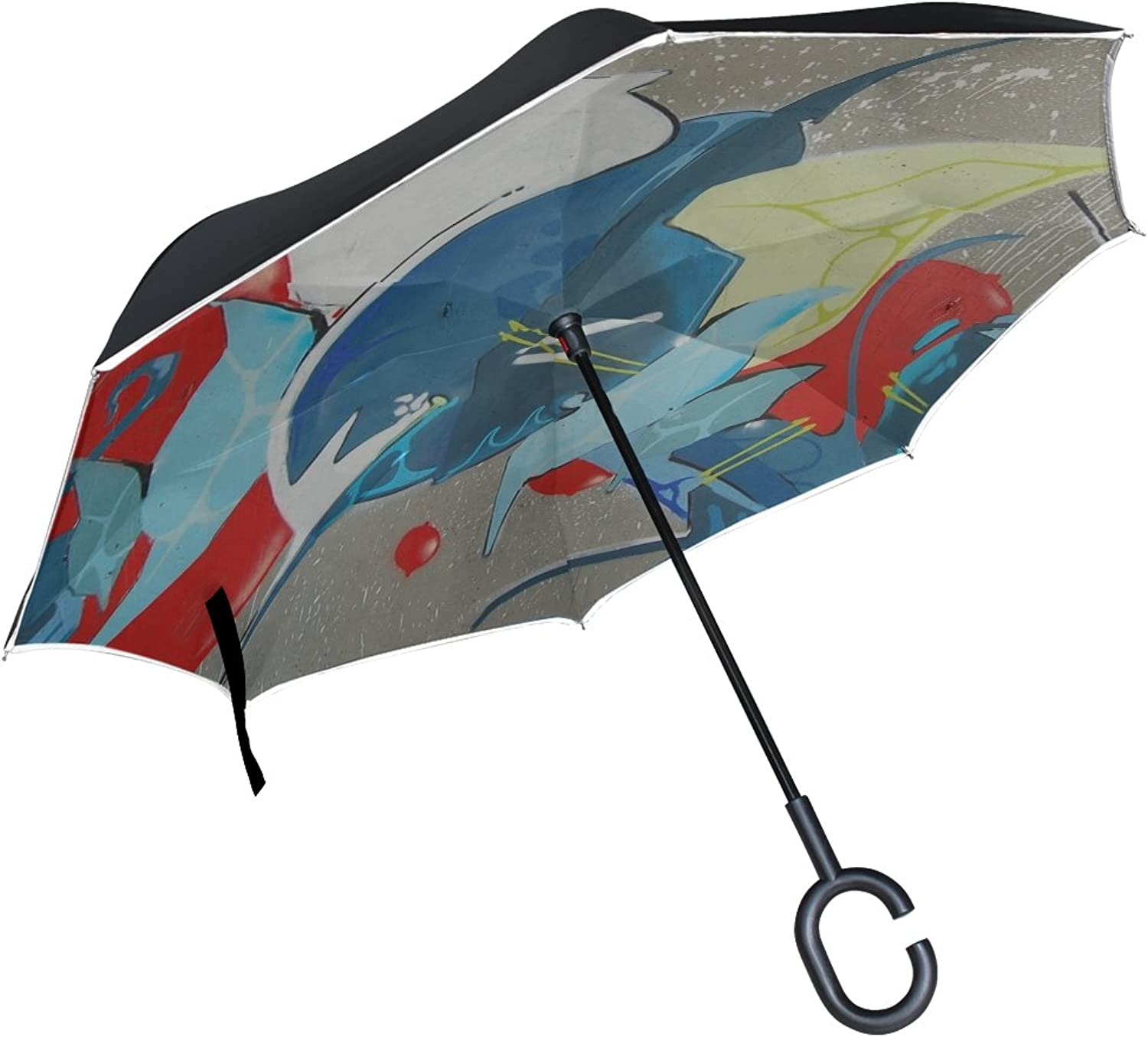 Double Layer Ingreened Abstract Art Graffiti Painting Wall Umbrellas Reverse Folding Umbrella Windproof Uv Predection Big Straight Umbrella for Car Rain Outdoor with CShaped Handle