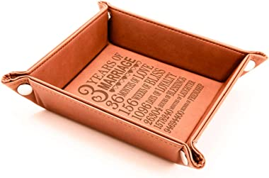KATE POSH - 3 Years of Marriage Engraved Leather Catchall Valet Tray, Our 3rd Wedding Anniversary, 3 Years as Husband & Wife,