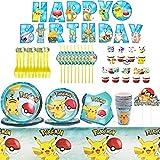 YUESEN Party Supplies Set 71 Pièces Pikachu Kit Vaisselle Fête d'anniversaire Décorations Complète Vaisselle Jetable en Papier Gobelet Serviettes Nappe Fournitures pour 10 Enfants