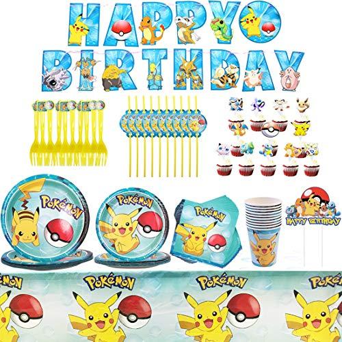 Pikachu Party Supplies Set - YUESEN 71PCS Decoración de la Fiesta de cumpleaños Infantil de Pikachu Vajilla Cumpleaños Mantel Tenedores Cuchillos Platos de Suministros para 10 Niños