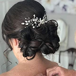 YERTTER Vintage Bride Wedding Hair Accessories for Brides Crystal Simulated Pearl Floral Bridal Hair Comb for Women and Girls