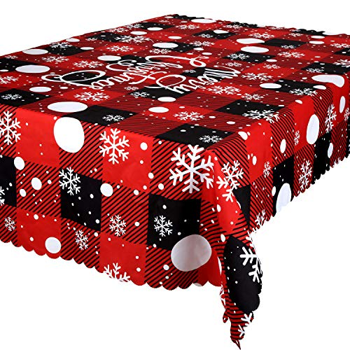 Buffalo Check Christmas Tablecloth Checkered Snowflake Tablecloth Black and Red Plaid Tablecloth for Holiday Christmas Decoration Party Supplies, 72 x 58 Inches