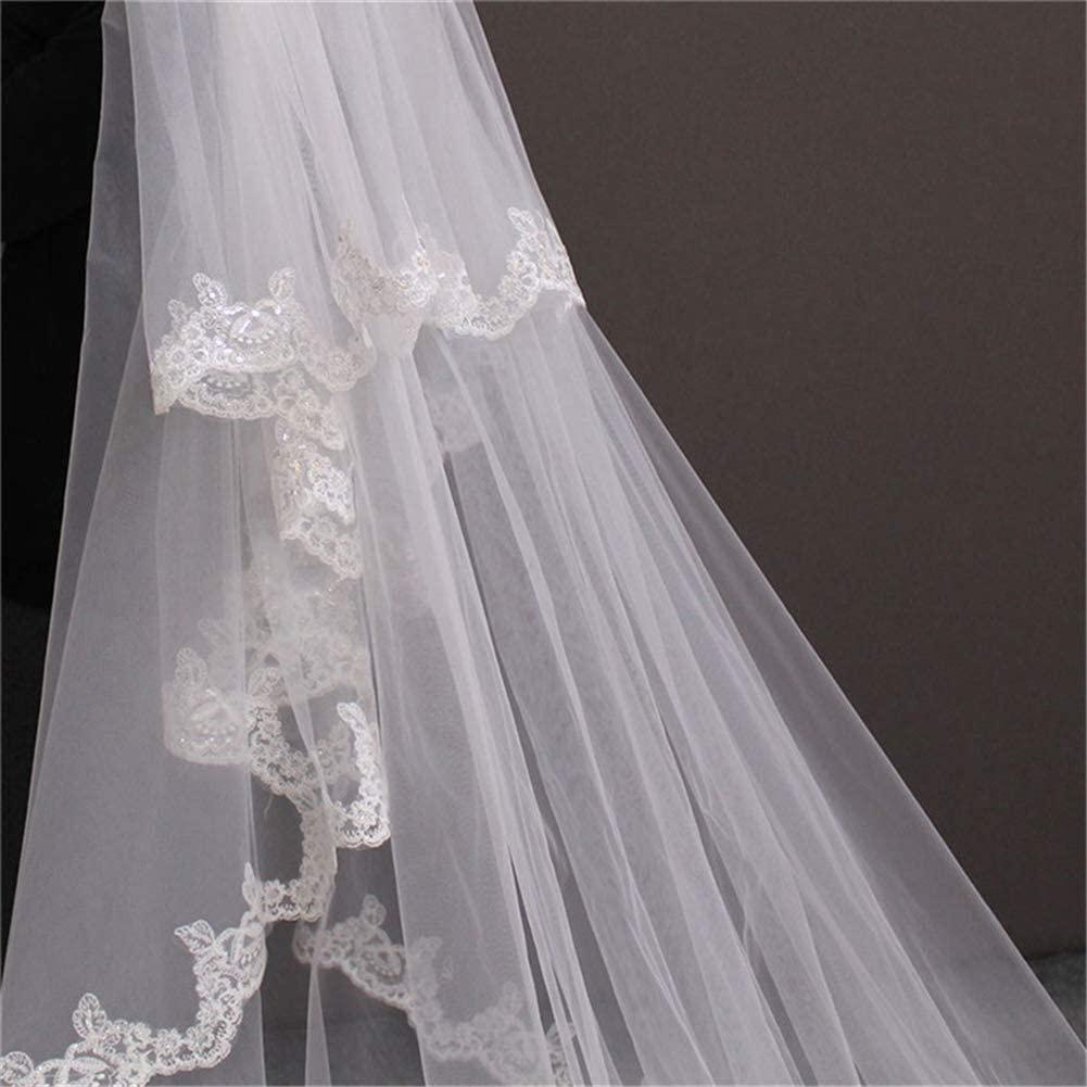 YXYY Bridal Wedding Veil Lace Applique Edge Bling Sequins, 2 Tier 5 Meters Long Cathedral Veils with Comb 93 (Color : Ivory)