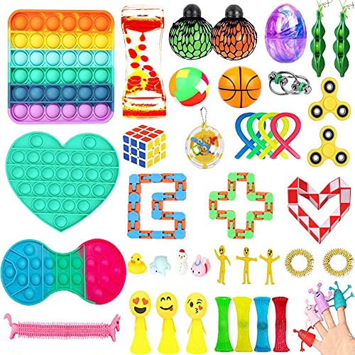 50 Packs Sensory Fidget Toys Set for Kids Fidget Blocks Toys for Adults, Stress Relief and Anti-Anxiety Fidget Toys Bundle for Birthday Party, Classroom Rewards Prizes