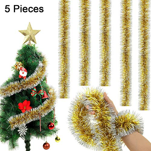 WILLBOND 5 Stücke 6,6 Füße Weihnachten Lametta Garland Snowy Lametta Twist Garland für Party Hanging Decke Dekorationen(Gold)
