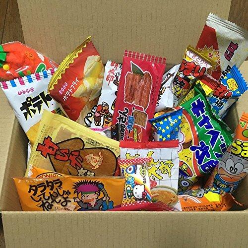 Boîte de Dagashi Snacks japonais 35pcs Umaibo Candy Gumi pomme de terre Chip Kitty chocolat avec AKIBA-KING Sticker