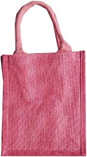 Jute Burlap Tote Bags Reusable Totes for Books, Gifts Full Gusset (Pink, 6)