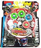 beyblade metal fusion clash of tornado speed top 4 beys and 2 launchers set- Multi color