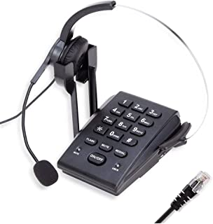 TelPal Dialpad Corded Telephone[Call Center] with Noise Cancelling RJ9 Headset,PC Recording for Small Offices and Home-based Agents