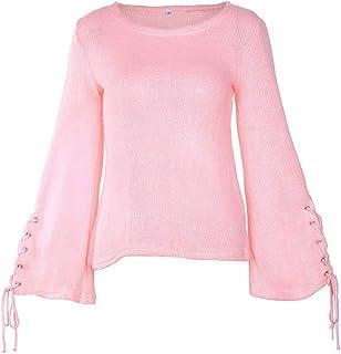Pullover Punto Mujer Primavera Otoño Sweater Elegante Moda Cómodo Casual Modernas Casual Vintage Pullover Cuello Redondo T...