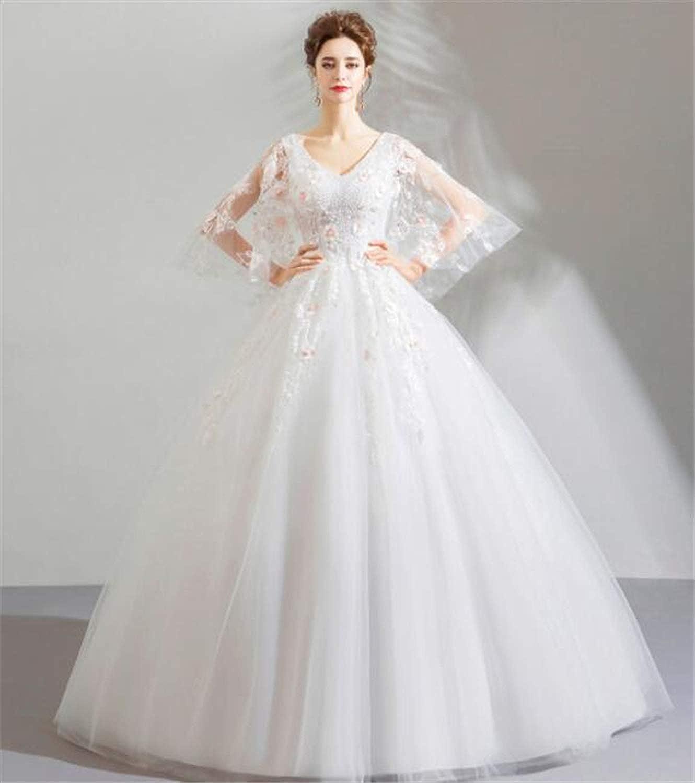Princess Style Flower Butterfly Sleeve Bride Wedding Dress Slim Dress Evening Dress White