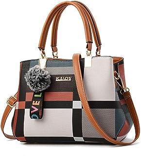 Fanspack Women Handbag Creative Colorblock Shoulder Bag Top Tote Handle Bag Crossbody Bag