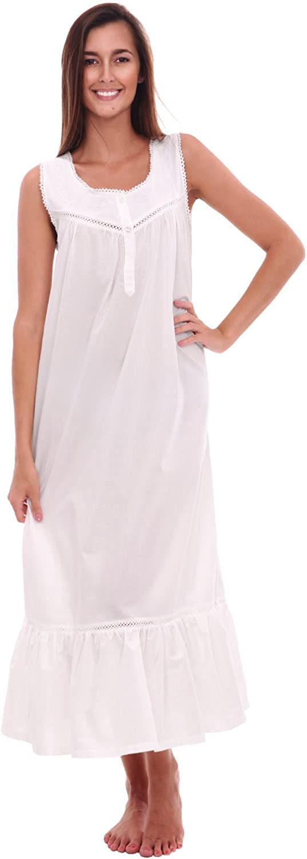 Del Rossa Women's Patricia Cotton Nightgown, Long Victorian Sleeveless Sleepwear
