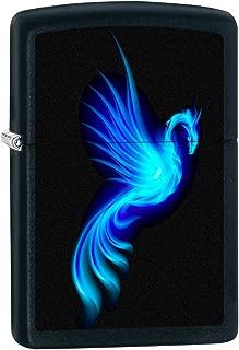 Zippo Lighter: Blue Phoenix - Black Matte 76524