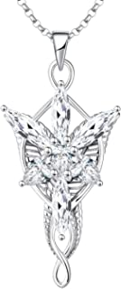 JO WISDOM Arwen Evenstar Necklace,925 Sterling Silver Lord of The Ring Hobbit Pendant Necklace with 5A Cubic Zirconia,Elvish Jewelry for Women