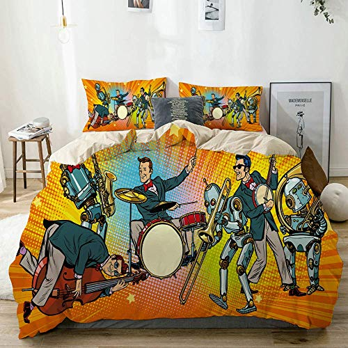 Funda nórdica Beige, Jazz Rock n Roll Band of Humans and Robots, Juego de Cama de Microfibra Impresa de Calidad de 3 Piezas, diseño Moderno con suavidad y Comodidad