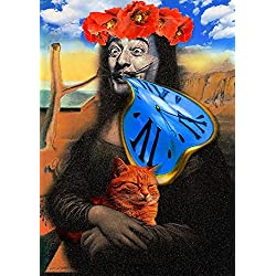 Gifts Delight Laminated 19x27 inches Poster: El Salvador Dali Given Clock Time Soft Watch Collage Fresco Picture Cat Portrait Mona Lisa The Smile of The Mona Lisa