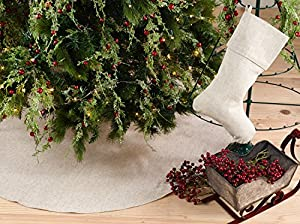 NATURAL LINEN BLEND TREE SKIRT - Featuring natural on linen blend fabric, simple, yet chic, the plain Christmas tree skirt is a great addition to your tree. It helps cover the base, while protecting your floors, and also brings a touch of style to th...