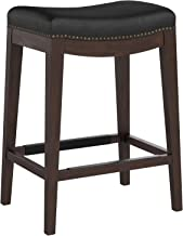Stone & Beam Elden Nailhead Trim Saddle Kitchen Counter Backless Counter Stool, 26 Inch Height, Black Leather, Wood