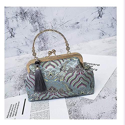 XHINB Neue chinesische Retro-Seide Bestickt Seide tragbare Umhängetasche Mutter Tasche mit Cheongsam Bankett Handtasche klein (grün)