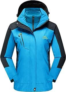 Women's Hooded 3-in-1 Winter Interchange Jacket Water Repellent Softshell Fleece Inner Ski Coat