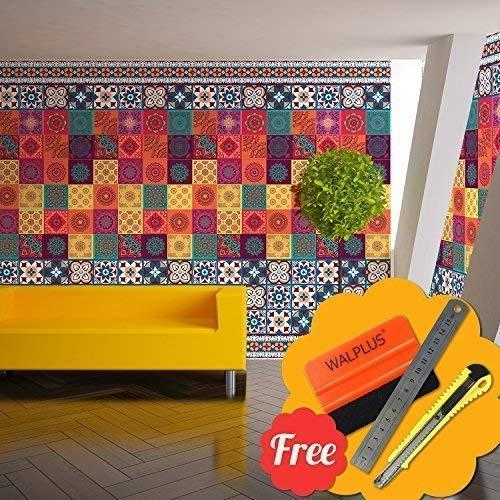 Walplus Entfernbarer Selbstklebend Wandkunst Aufkleber Vinyl Wohndeko DIY Wohnzimmer Schlafzimmer Küche Dekor Tapete Taj Mahal Bunt Fliesen Sockelleiste Mix Aufkleber 24cm X 20cm X 20cm