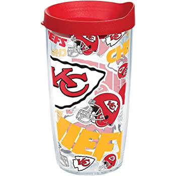 Clear Tervis 1257368 NFL Kansas City Chiefs Legend Tumbler with Wrap and Red Lid 16oz Mug
