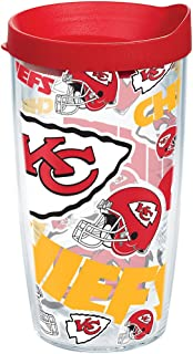 Tervis 1247843 NFL Kansas City Chiefs All Over Tumbler with Wrap and Red Lid 16oz, Clear