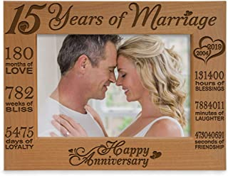 Kate Posh - Our 15th Anniversary Engraved Natural Wood Picture Frame - 15 Years of Marriage 2004 Through 2019, Fifteen Years Together, Wedding for Husband & Wife (5x7 Horizontal)
