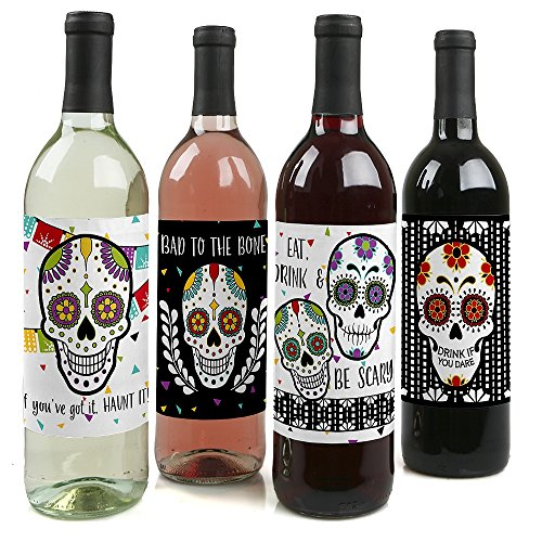 Big Dot of Happiness Day of the Dead - Halloween Sugar Skull Decorations for Women and Men - Wine Bottle Label Stickers - Set of 4