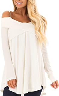 Mansy Women's Casual Off Shoulder Long Sleeve Spaghetti Strap Halter Tops Sweater Blouse