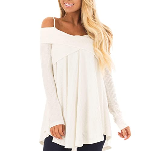 Mansy Women s Casual Off Shoulder Long Sleeve Spaghetti Strap Halter Tops  Blouse 81417eb54