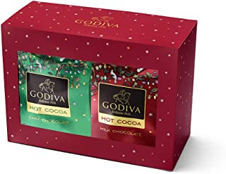Godiva Chocolatier Holiday Hot Cocoa Variety Gift Pack, Milk Chocolate and Dark Chocolate Cocoa, 12 Individual Serving Packets