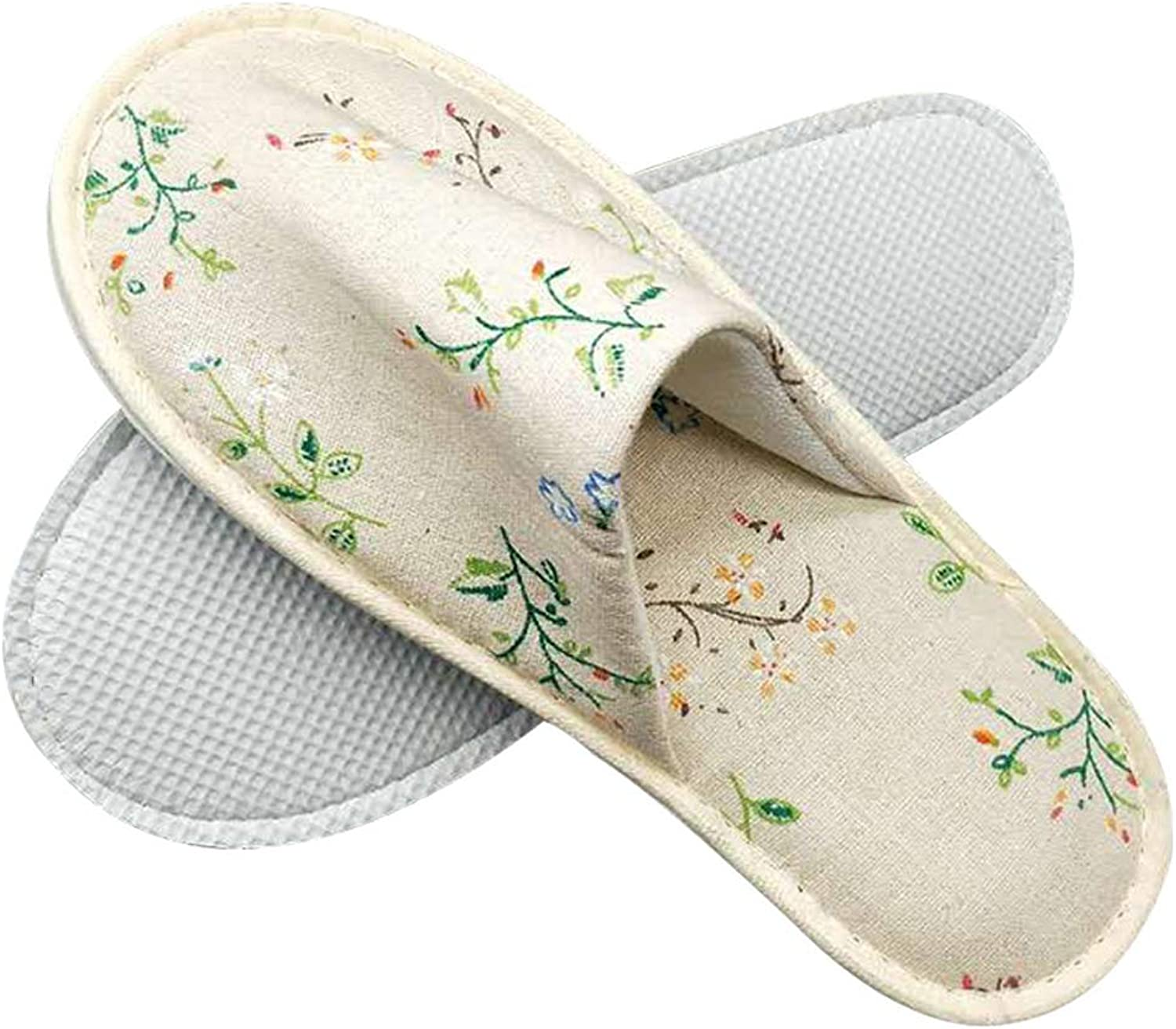 Disposable SPA Slippers Non-Skid Closed Toe Unisex Linen Slippers For Home Hotel Guest Or Commercial Use,G,30Pair