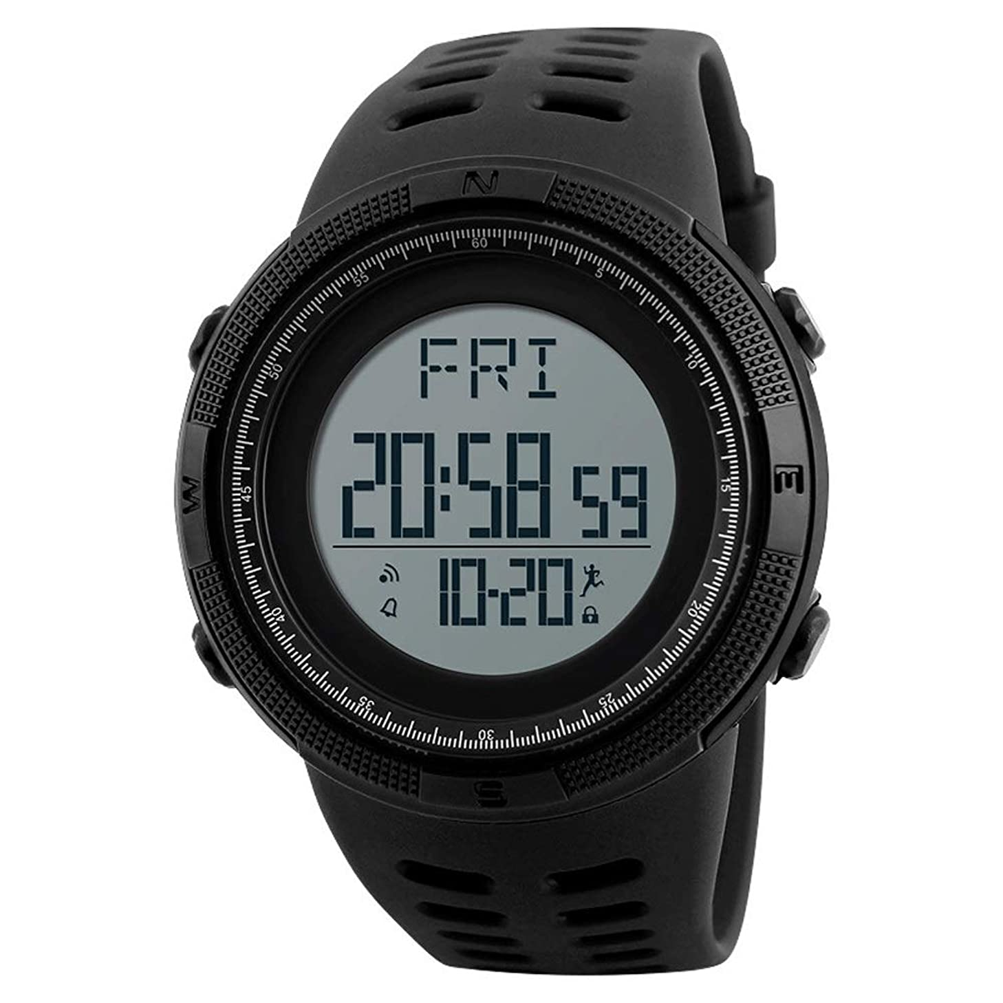WFFXLL Smart Watch Multi-Function Pedometer Electronic Waterproof Men's Outdoor Sports Bluetooth Calorie Pedometer Fitness Bracelet Smart Watch (Color : Black)