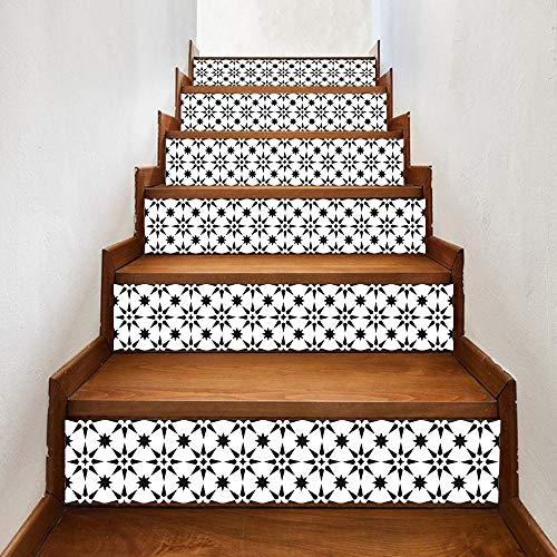 """Flexmus Decorative Stair Riser Decals Stickers Peel and Stick, Self-Adhesive Staircase Decals Sticker for Tiles Wooden Floor Walls Decals Kitchen Bathroom Home Decoration, 7x 39""""(18x100cm) x 6pcs"""