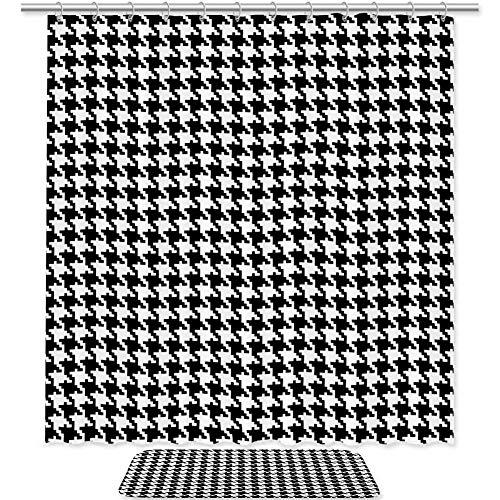 Bennigiry Classic Hahnentritt-Duschvorhang-Set, Badezimmer-Zubehör, 182,9 x 182,9 cm, Polyester-Duschvorhänge & Badematte mit 12 Haken