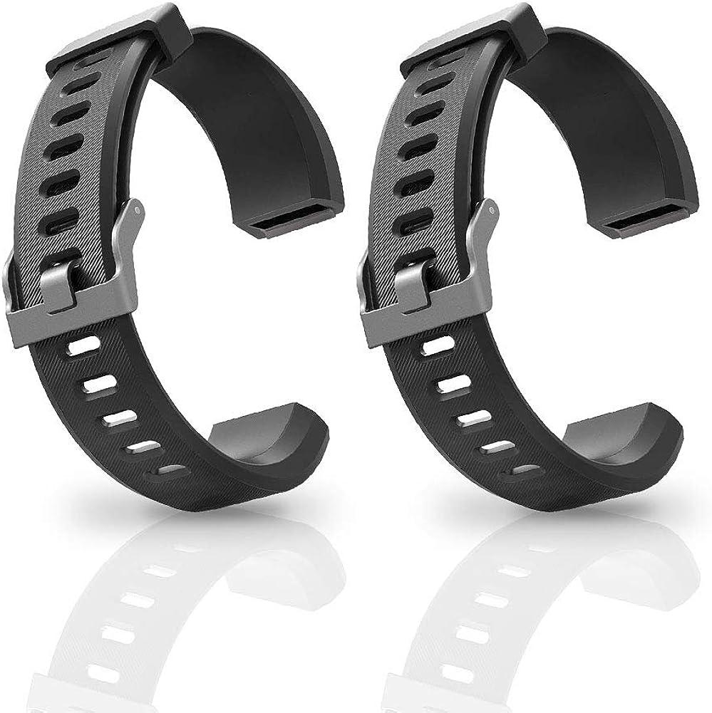 ANEKEN Replacement Band ID115Plus HR Adjustable Strap for Smart Bracelet Fitness Tracker, 2 Pack (Black)