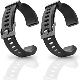 Aneken Replacement Band ID115Plus HR Adjustable Strap for Smart Bracelet Fitness Tracker, 2 Pack (Black)