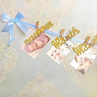 Newborn to 12 Months Photo Banner, Baby Growth Record Garland, Great for First Birthday Party Decoration (Blue and Gold)