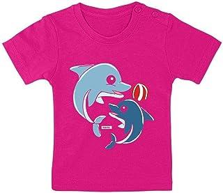 HARIZ Camiseta para bebé con diseño de delfines jugando con pelota de agua, animales de la selva, tarjeta de regalo